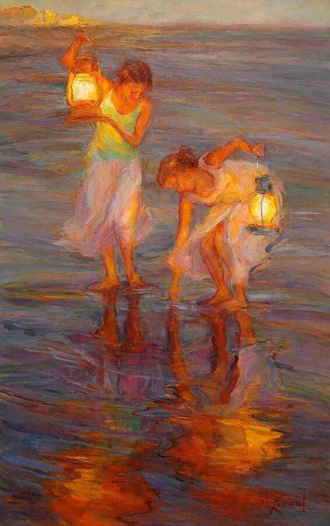 girl lights on beach